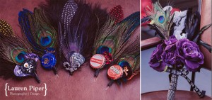 colorful feather boutonniere and bouquet