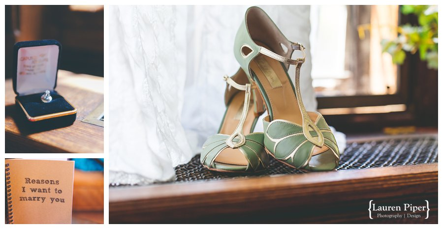 Skylands Manor green wedding shoes